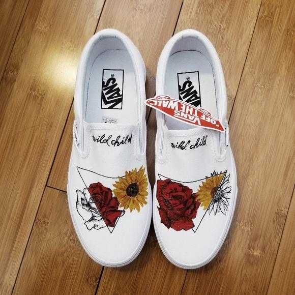 7545bff8f014 Custom Canvas Vans Slip-on (hand drawn)